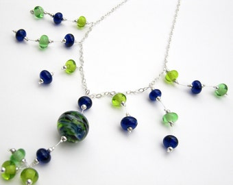 Dramatic Blue and Green Glass Bead Necklace