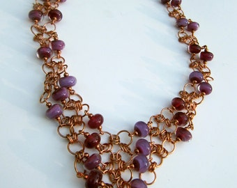 Fuschia Hot Pink Glass Bead and Copper Wire Chainmaille Necklace