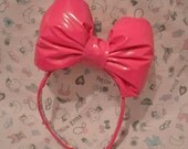 Large Pink Vinyl Bow Headband