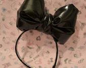 Leatherette Black Big Bow Headband