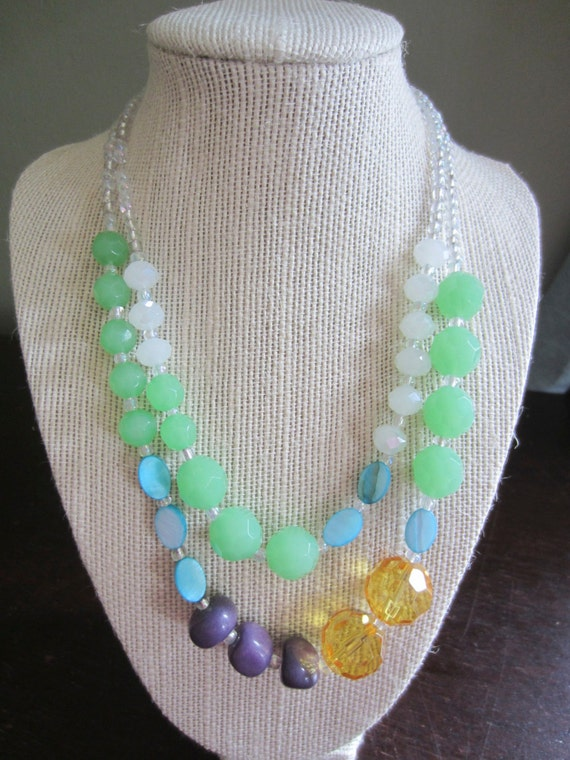 earthy double strand beaded necklace