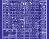 1949 Vintage Map of Downtown Philadelphia Blueprint Map Print Poster
