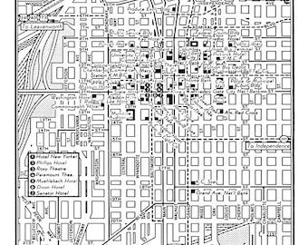 1949 Vintage Map of Downtown Kansas City Print Poster