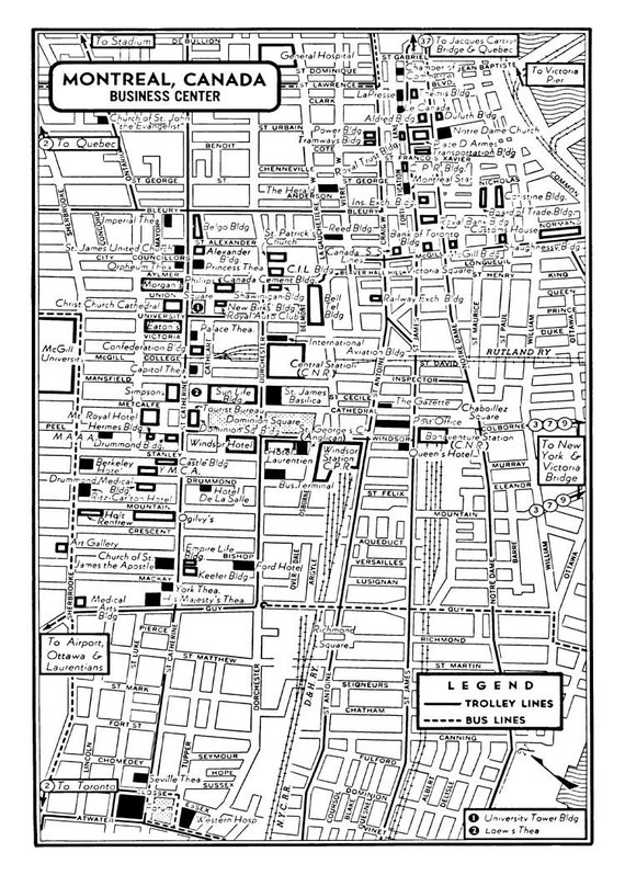 1949 Vintage Map of Downtown Montreal Canada Print Poster