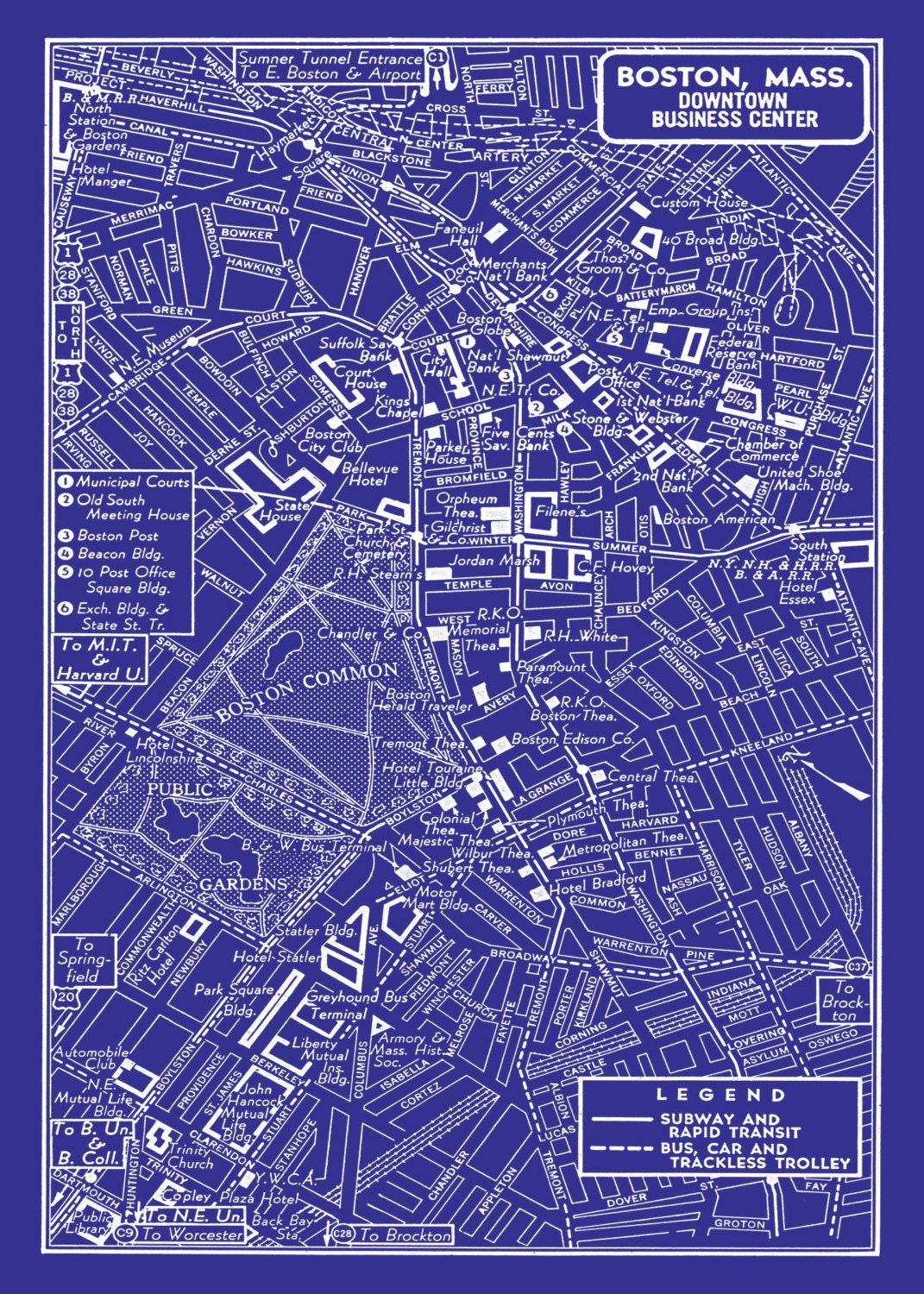 Old Maps Of Boston City Maps Etsy Los Angeles Neighborhood Type - Vintage los angeles map poster