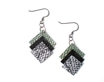 Metallic Square Earrings / Geometric Jewelry / Eco-Friendly / Upcycled Vinyl
