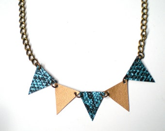 SALE Bunting Flag Necklace / Turquoise & Gold / One of a Kind Handmade