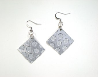 SALE Metallic Silver Square Earrings / Geometric Jewelry / Upcycled OOAK
