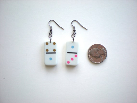 Colorful Domino Earrings / Recyled Game Piece / Handmade Jewelry