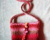 "Small Knitted and Felted Bag or Purse ""Blueberries and Creme"""