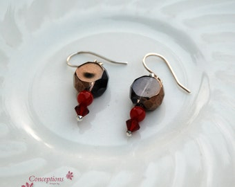 "Sterling Silver, Red Coral, Swarovski Crystal and Bronze Glass Faceted Beaded ""Chocolate Covered Cherry"" Earring Pair"