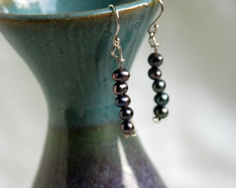 "Grape Fresh Water Pearls Sterling Silver Strung Earring Pair ""Grapevine"""