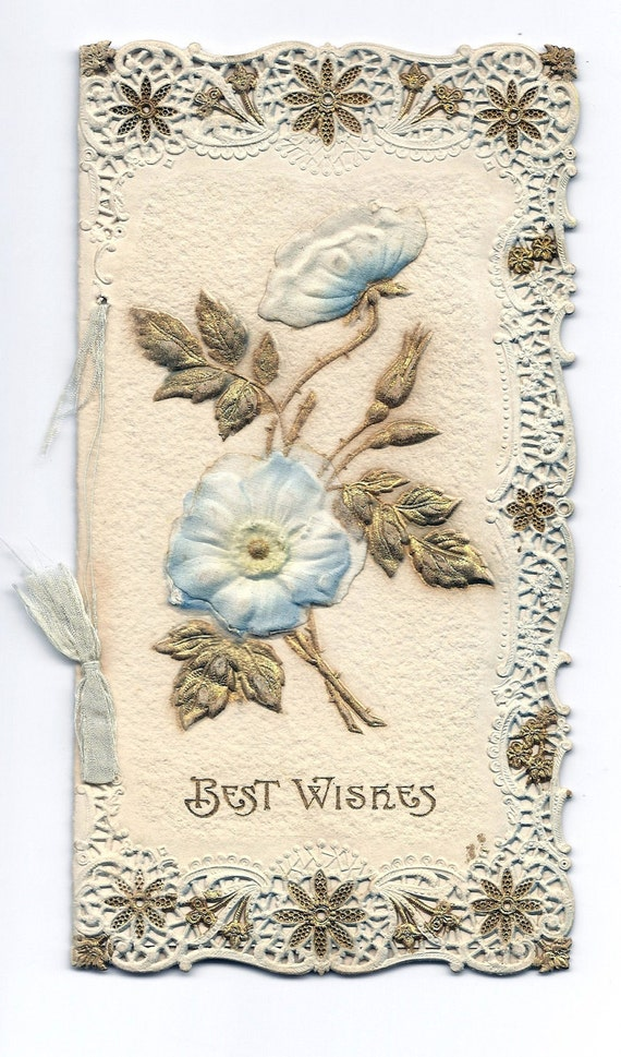 Vintage Birthday Card Embossed Floral for Mother