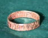 """Fallout Quote Ring in Copper - """"War Never Changes"""" (Size W)"""