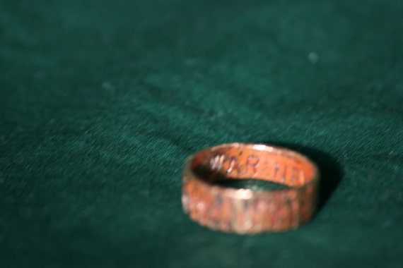 """Fallout Quote Ring in Copper - """"War Never Changes"""" (Size P)"""