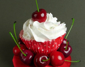 Kitsch Quirky Fun Retro Pinup Vintage Cherries Cupcake Fascinator