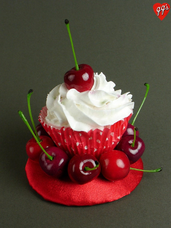 Kitsch Quirky Fun Retro Pinup Vintage Cherries Cupcake Fascinator
