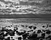 Beach Photography - Landscape, Ominous Clouds, Sky, Heavenly, Sunshine, Ray of Light, Ocean Rocks, Shimmering Waves, Water, Black and White