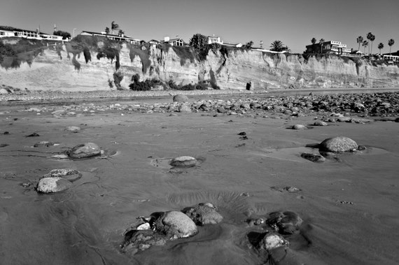 Beach Photograph - Black and White, Rocky, San Diego, California, Summer, Bluffs, Cliffs, Palm Trees, Sandy Beach, Beach Front Homes