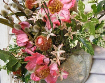 One of a kind Upcycled Wall Pocket arrangement