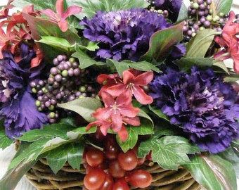 One of a kind Wine Country Harvest Basket with Grapes and Flowers