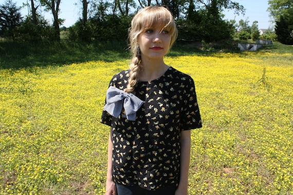Yellow and Black Floral Shirt