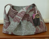Hand Bag, Purse, Shoulder Bag, Mink and Turquoise Flower Pattern, with Pleat Detail