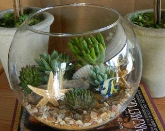 Succulent Terrarium - Succulent Tabletop, Wedding Centerpiece, Special Events Centerpiece, Succulent Planter
