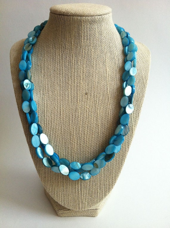 Turquoise Shell Necklace - Turquoise Shell Triple Strand Necklace