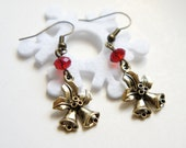 Mistletoe and Bell Charm Holiday Earrings