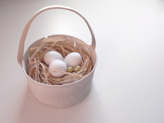 """Easter Basket - for a Boy or Girl -  Fabric Basket - 7"""" wide x 4"""" tall - Single Handle Natural"""