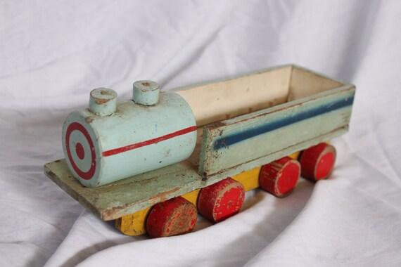 primitive wood train, toy, sewing thread storage