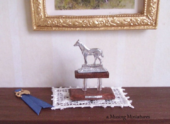 Blue Ribbon Horse Trophy in 1 Inch Scale for Dollhouse Miniature Breyer Classic Model Horse