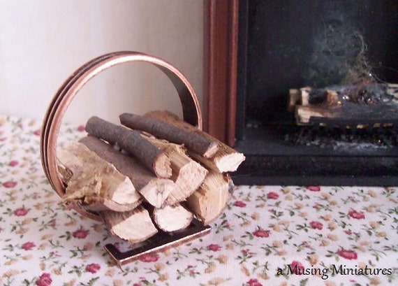 LAST ONE Firewood Hoop in Copper Finish in 1 Inch Scale for Dollhouse Miniature Roombox
