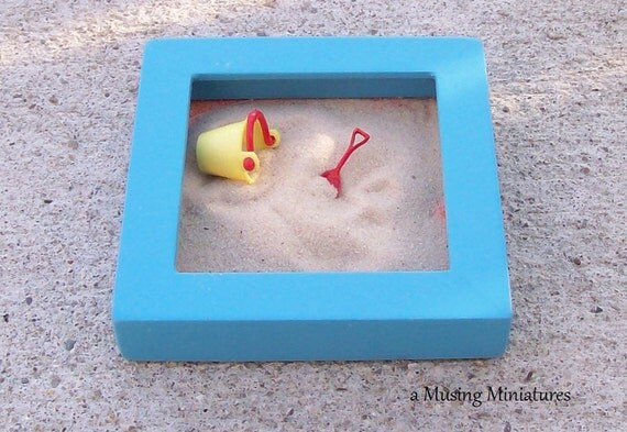 Blue Sandbox with Pail and Shovel in 1 Inch Scale for Dollhouse Miniature Roombox or Desktop
