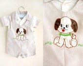 vintage overalls : BROWN PUPPY onesie overalls (6-9mo)