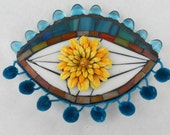 Mosaic third Eye with Flower Brooch