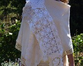 Cotton shawl made from thick vintage cotton, woven and net fabric, edged with cotton lace and vintage doilies OOAK