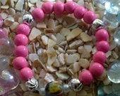 ShooGah (Sugar) Bracelet (Recycled glass, hot pink bracelet)