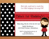 Ladybug Black and Red / Birthday Party Invitation Cards PRINTABLE DIY