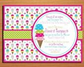 Ice Cream / Sweet Celebration Birthday Party Invitation Cards PRINTABLE DIY