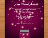 Purple Dusk and Fireflies Wedding Invitation PRINTABLE / DIY