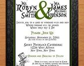 Mad Hatter / Alice in Wonderland / Black Damask and Green Modern Wedding Invitation PRINTABLE / DIY