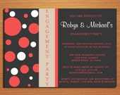 Fuschia Mod Dots Engagement Party Customized Printable Invitations /  DIY