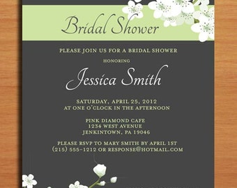 Lime and Charcoal Cherry Blossom Bridal Shower Customized Printable Invitations /  DIY