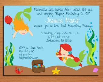 Little Mermaid / Under the Sea Birthday Party Invitation Cards PRINTABLE DIY