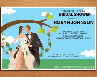 Wedding Couple on Swing Bridal Shower Customized Printable Invitations /  DIY