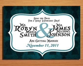 Alice in Wonderland Key Hole Modern Wedding Save the Date PRINTABLE / DIY