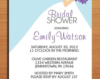 Wedding Dress Bridal Shower Customized Printable Invitations /  DIY
