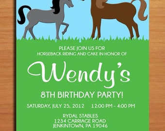 Horse, Pony Birthday Party Invitation Cards PRINTABLE DIY